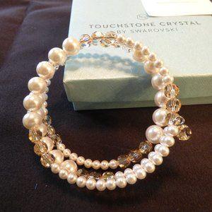 New Swarovski Wraparound Bracelet Crystal & Pearl